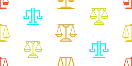 Seamless pattern with Justice law. Icon design. Template elements