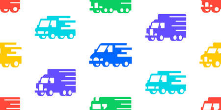 Seamless pattern with Delivery Truck. Icon design. Template elements