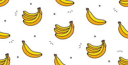 Banana seamless pattern. Vector hand drawn illustration