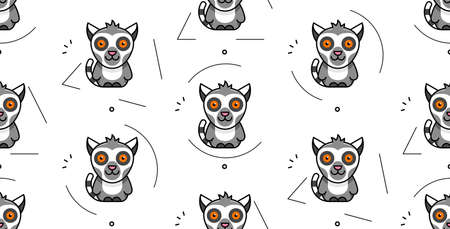 Seamless pattern with lemurs. Icon design. Template elements