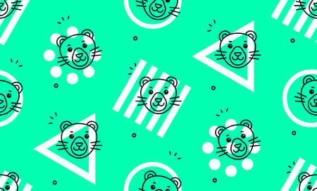 Seamless pattern with panthers. Icon design. Template elements 矢量图像