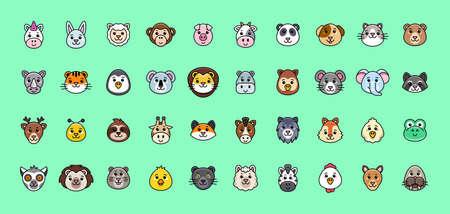 Animals Icon Set. Cartoon Animal Icon. Icon design. Template elements