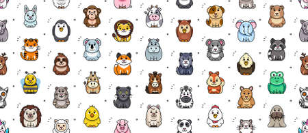 Seamless pattern with Animals icons. Animal icons set. Icon design. Template elements 矢量图像