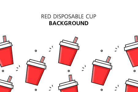 Red disposable cup background. Icon design. Template elements. isolated on white background