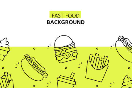 Fast Food background. Icon design. Template elements. isolated on white background
