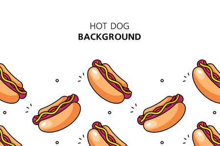 Hot dog background. Icon design. Template elements. isolated on white background Illusztráció