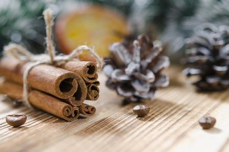 Christmas card: Cinnamon and slices of orange for Christmas 写真素材