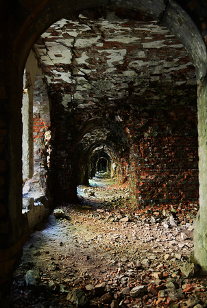 Old red brick walls in ruined defensive fort. Ukraine