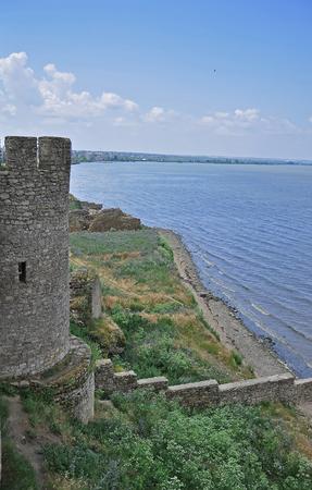 The huge stone walls of the ancient Akkerman fortress, Belgorod-Dniester, Odessa region. Ukraine