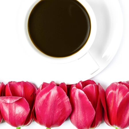 White coffee cup stands on a white plate with white background near multi-colored tulips. Closeup Фото со стока