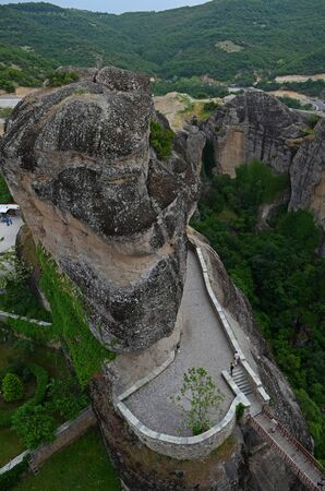 Meteora - a complex of monasteries, the second largest in size after Athos, located on the peaks of the Thessaly rocks, in the north of Greece, near the town of Kastraki Stock Photo