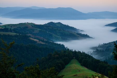 Morning fog in the mountains of the Carpathians on the background of mountain peaks covered with trees Stock Photo