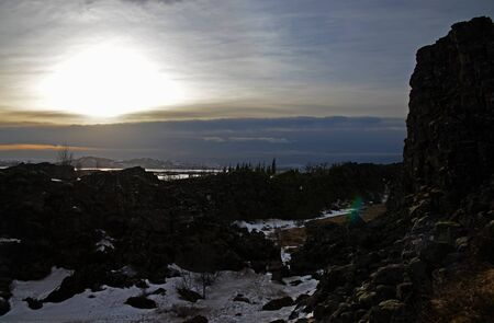 Thingvellir, a site of historical and cultural national park in southwestern Iceland, boundary between the North American tectonic plate and the Eurasian