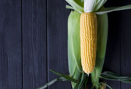 Yellow juicy corn with green leaves on a black tree table Фото со стока