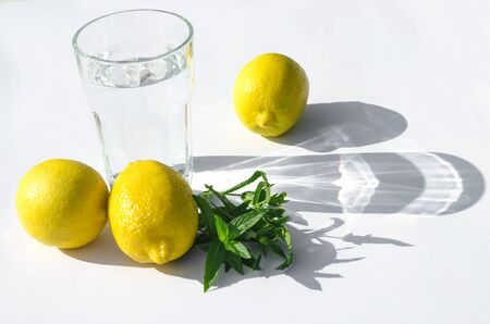 Lemons, fresh green mint and a glass glass with water on a white background. Shadows on a white background. Close-up Stockfoto