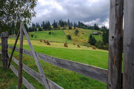 High-altitude fields with typical open-air hayfields. Ukraine Stockfoto - 131551602