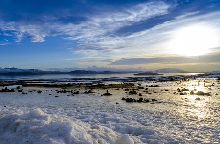 Fabulous winter sunrise in the Iceland. Sunrise against the background of mountainous 写真素材
