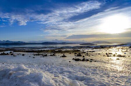Fabulous winter sunrise in the Iceland. Sunrise against the background of mountainous Stockfoto