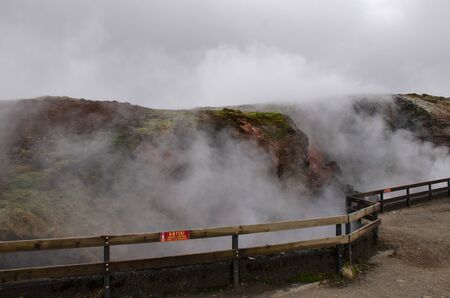 Clean geothermal energy escaped by geysers from the bowels of the earth in Iceland Stockfoto