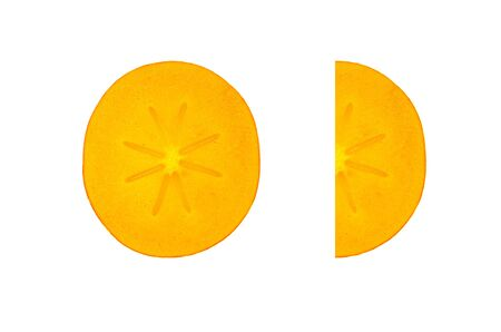The juicy orange fruit sharon lies cut on a white background. Close-up Stock Photo