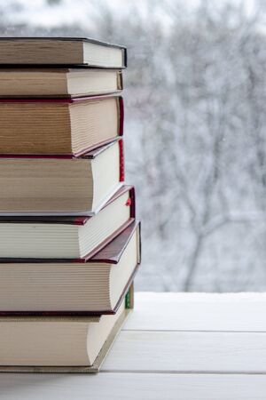 Lots of multi-colored books stand on a white wooden shelf against the backdrop of winter snow-covered forest