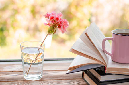 Pink geranium flower stands in a glass of clear water next to the books