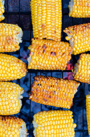 roasted sweet corns on the bbq grill Stockfoto