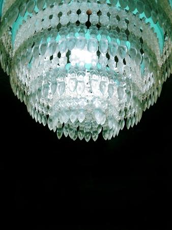 chandelier background: Vintage chandelier seventies on a black background Stock Photo