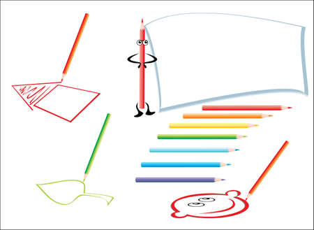 crayons draw Vector
