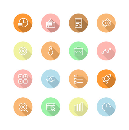 set of icons for business and organizations in the financial, businessman, calculator, growth charts, money, dollars Illustration