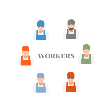 craftsmen: set of icons of workers and craftsmen Illustration