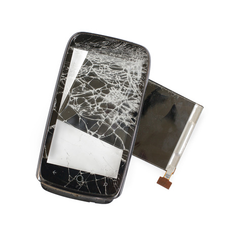 breakage: broken phone black , cracked glass breakage