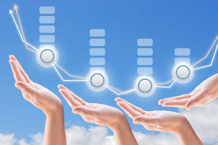 hands support the growth and promotion seo on the background of sky and clouds Imagens