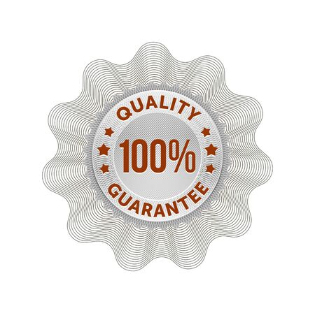 Quality guarantee rosette red. Vector.