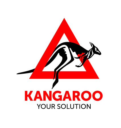 wallaby: kangaroo jumps out of the red triangle, vector kangaroo