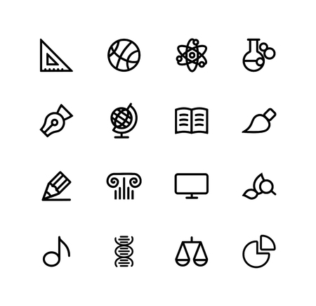 school subjects and discipline, mathematics, sports, physics, chemistry, spelling, geography, literature, drawing, drawing, history, computer science, botany, music, biology, law, economy set of vector icons, outline icons, vector