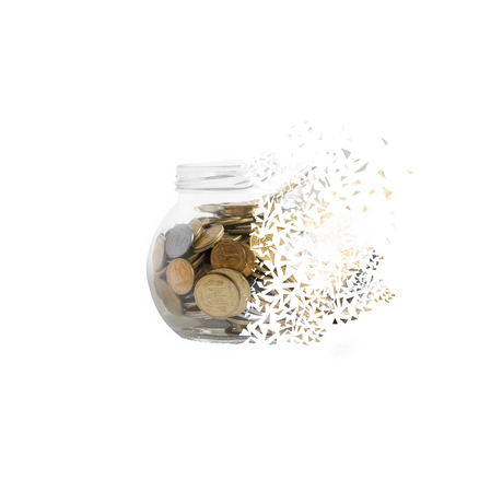 wasteful: Bank with coins to crumble into small pieces. Symbolizes bankruptcy, loss, economic crisis,inflation.