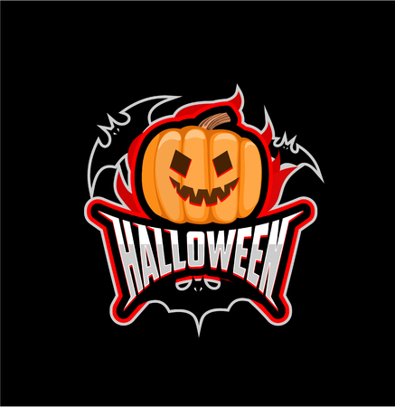 of helloween: On black background pumpkin, the bats and the inscription halloween. The emblem of halloween. Icon. Badge.