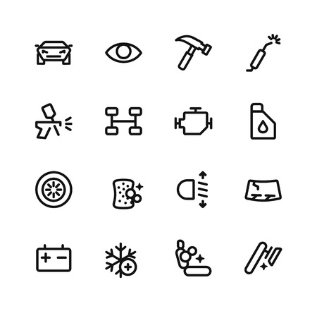 buffing: Set of vector icons - services for cars. Illustration