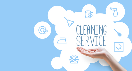 Poster template for house cleaning services Stock Photo
