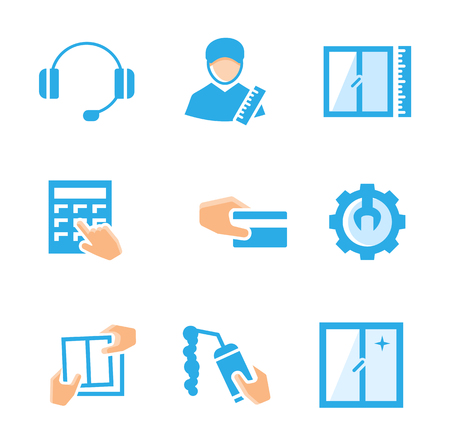 fabrication: Fabrication and installation of windows set vector icons