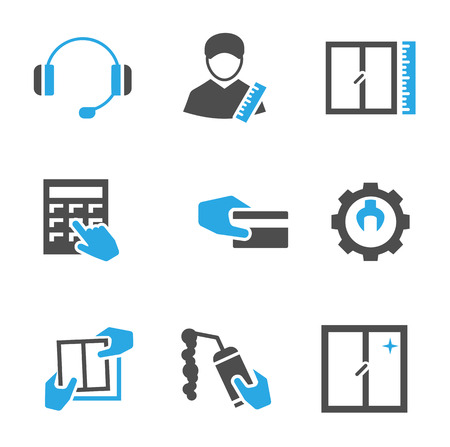 installer: Fabrication installation and repair of Windows, set of vector icons