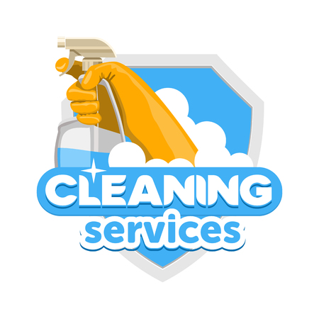 cleaning service logo, vector