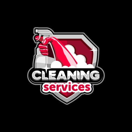 logo house cleaning service, vector Vettoriali