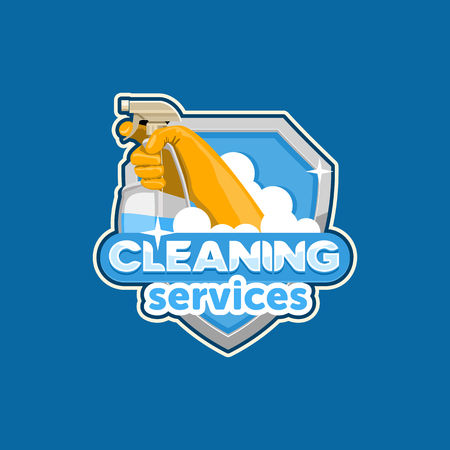 latex glove: logo house cleaning, vector