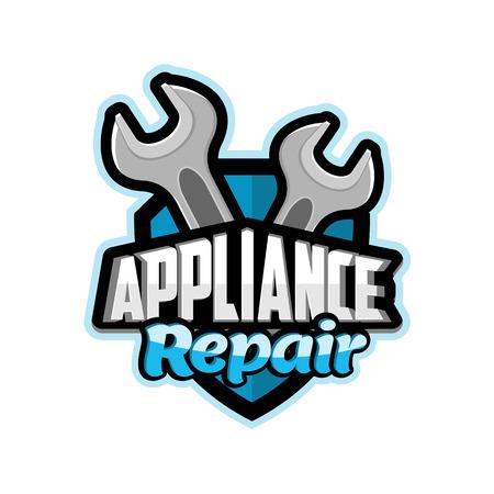 Repair of household appliances logo blue ,vector, illustration, background, banner, poster, symbol, badge
