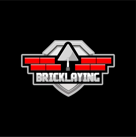 bricklaying logo for a construction company or brigade, vector