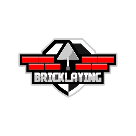 the logo of the company which is engaged in laying brick, vector
