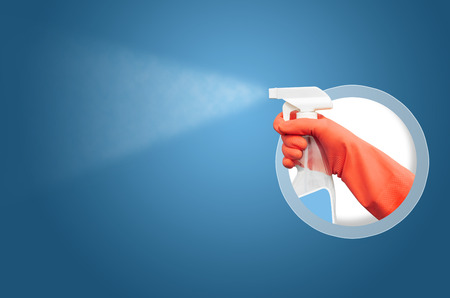 latex glove: Cleaning Service Worker Stock Photo