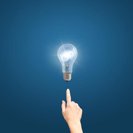fingertip: Business idea bulb gear web engineering